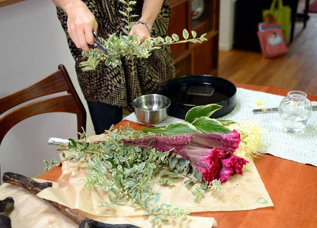 An out-take from our photo shoot- preparing Ikebana