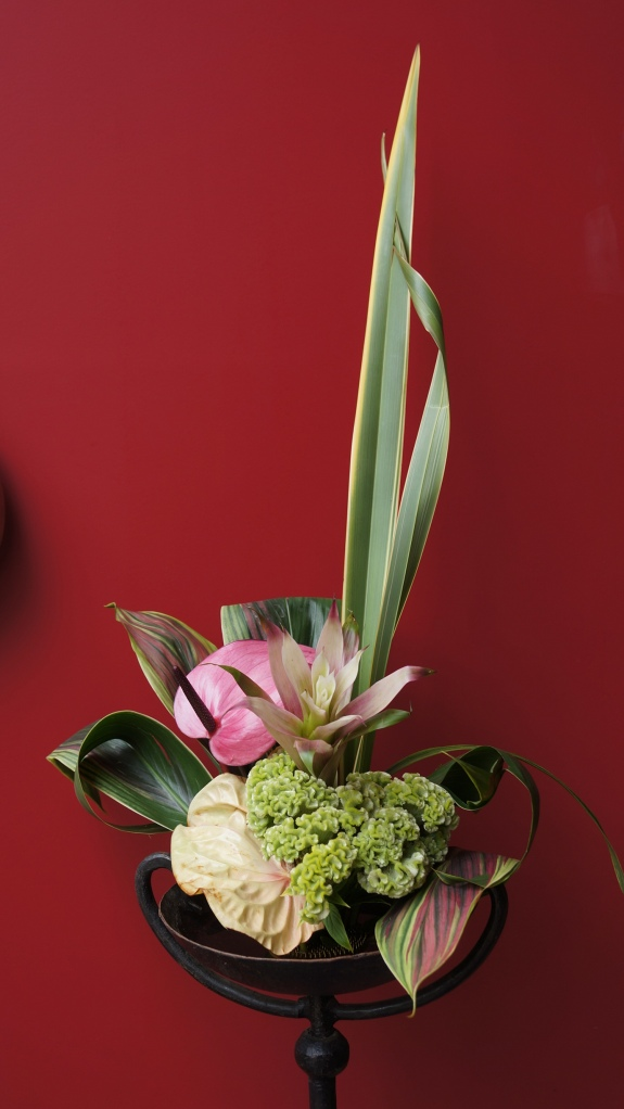 At the front door, my composition greets visitors. Materials: dracenia, New Zealand flax, coxcomb, anthurium.