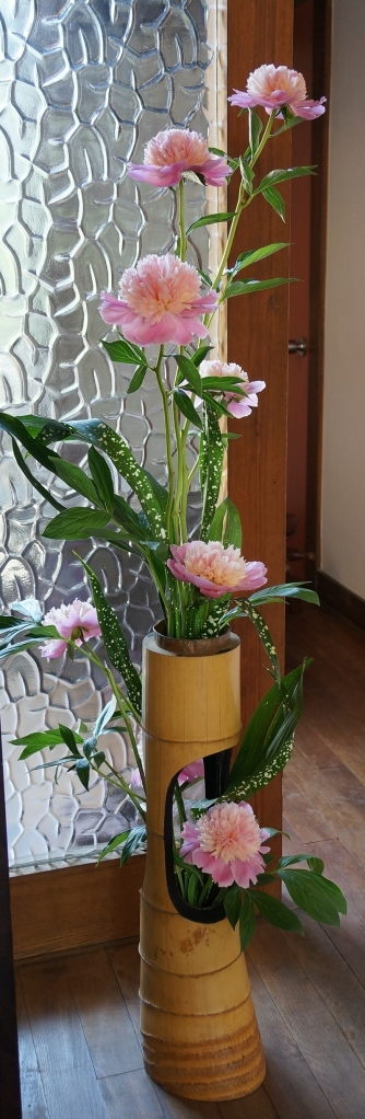 From another angle: my composition with peony and aspidistra in a vintage bamboo vase